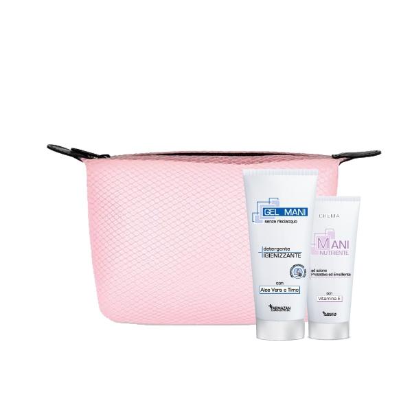 Gel detergente igienizzante e crema mani nutriente Farmazan. Kit con pochette rosa omaggio.