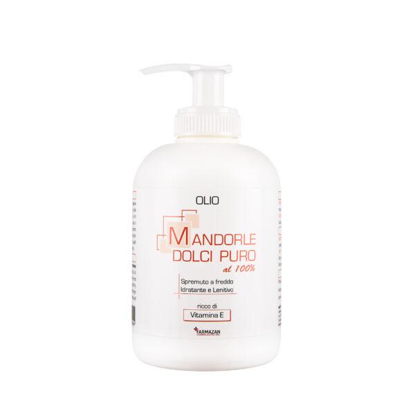 Olio di Mandorle Dolci Farmazan. Flacone con dispenser da 250 ml.